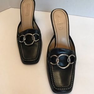 Lovely  Coach Heels Black With Silver Tone Loops